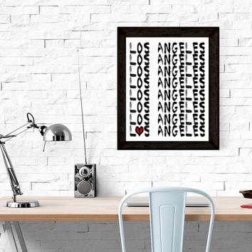 Los Angels Wall Art   PRINTABLE -Printable, Black and White with Red Heart  Wall Art, City Wall Art