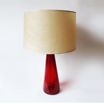 Vintage Red Glass Lamp - Venini, Murano 1950s