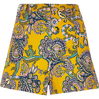 River Island Womens Yellow textured paisley print shorts