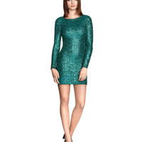 Long Sleeves Sequin Sheath Dress