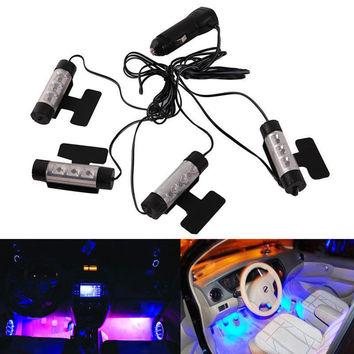 1 SET 4x 3 LED Car Charge 12V Auto Interior Decorative 4in1 Atmosphere Light Lamp Blue