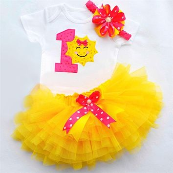 1 Year Birthday Dress for 1st First Baby Kids Girl Photo Babes Baby Romper Baby Girls Dresses Party Clothes 3 PCs Set
