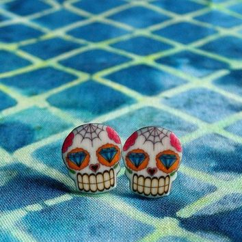 Mini Dia de los Muertos Sugar Skull Earrings with Diamond Eyes