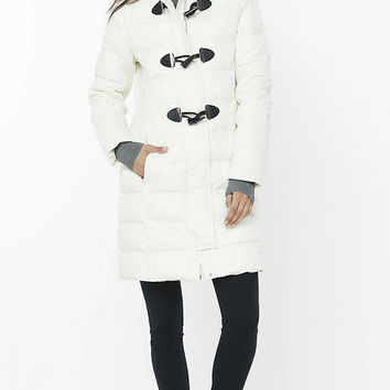 Long Down Filled Toggle Puffer Coat from EXPRESS