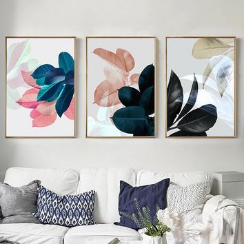Nordic Leaf Posters Prints Wall Art Modern Canvas Painting Abstract Colorful Leaves Plants Picture Home Decor Art Set