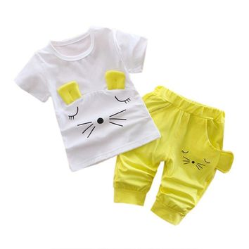 Baby Girls Clothes Sets 2017 Cute Cat Pattern Summer Tshirts+pants Sleeveless O-neck Costumes for Kids Girls Clothing 2 Pieces