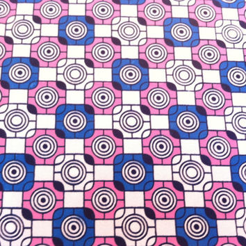 African Wax Print Fabric by the HALF YARD. Checkers and Circles in blue, pink, black, and white.