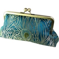 Handmade Weddings on Etsy - Peacock Splendor Silk Brocade Luxury Clutch Purse Teal and Gold by ClutchThat