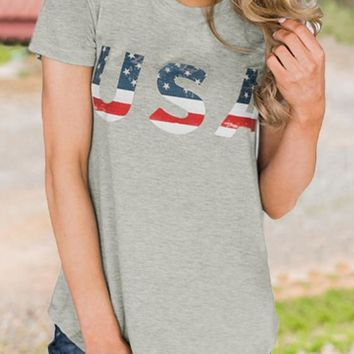 """Grey """"USA"""" American Flag Print Independence Day Casual T-Shirt"""