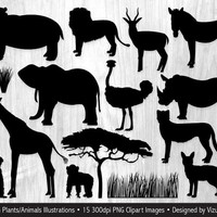 African Animal Silhouettes Clip Art Safari Jungle Animals Clipart, Wildlife Silhouettes, Wild Animal Clip Art, Safari Silhouettes Clipart