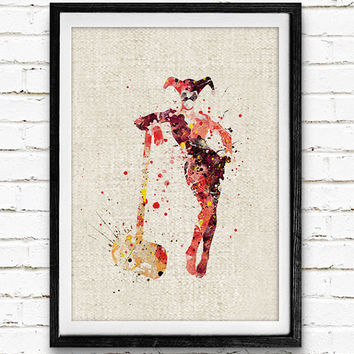Harley Quinn Watercolor Poster Print, Superhero Watercolor Print, Kids Bedroom Wall Art, Home Decor, Not Framed, Buy 2 Get 1 Free