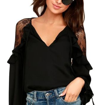 Black Lace Long Sleeve Ruffle Shoulder Top