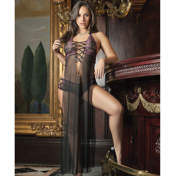 Sheer Seductive Dress & Hiphugger Panty Black-pink O-s