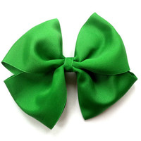 St. Patrick's Day Girls Hair Bow: Extra Large Emerald Green Hair Bow