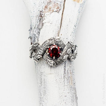 Red Dragon Ring, Garnet Ring, Nature Inspired Jewelry, Engagement Ring, Fire Ring, Red Stone, Dragon Scale, Leaves, Gemstone