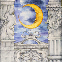 Moon painting. [About moon.Limited edition print (edition of 40), signed and numbered.Reproduced from my original watercolor painting.]