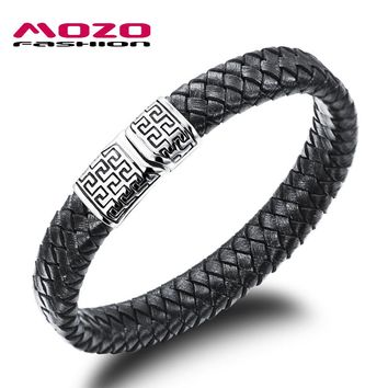 Black Leather Bracelet Stainless Steel Magnetic Clasps Vintage Accessories