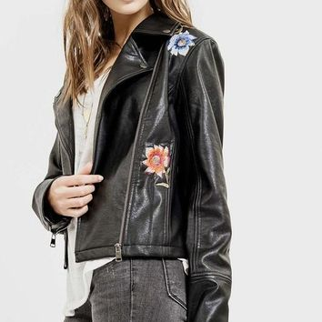 Floral Embroidered Vegan Moto Jacket