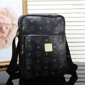 """MCM"" Unisex Briefcase Casual Fashion Letter Logo Print Wide Shoulder Strap Webbing Single Shoulder Messenger Bag"
