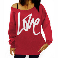 FASHION OBLIQUE SHOULDER LOVE LETTERS PRINTED SWEATER