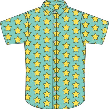 Walking Dead Ezekiel Button Down Yellow Star Shirt L