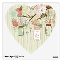 Mason Jars and Flowers with wood background Room Sticker