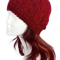 Reb/Black Cable Knit Beanie