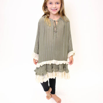 Army Green Lave Peasant Dress