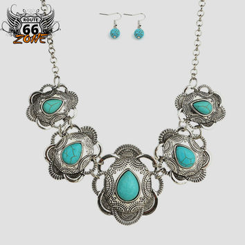 Tribal Navajo Chunky Turquoise Bohemian Necklace & Earring Set