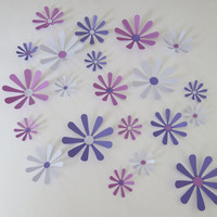 "Lilac, Purple, Violet Daisies Set, 21 big 3D wall decals, 2-4"" paper flowers, Princess bedroom decor, Spring time floral art, wedding diecut"