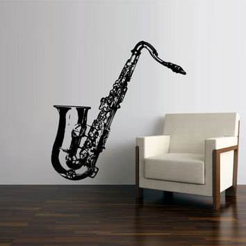 Wall Vinyl Sticker Decals Decor Art Bedroom Design Mural Music Instrument Notes Sax Saxophone Tube Jazz Notes Audio (z2601)