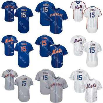 White-Royal blue 15 Tim Tebow Authentic baseball Jersey , Men's 31 Mike Piazz 34 noah syndergaard New York Mets Flexbase Collection stitched