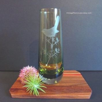 Vintage Caithness Glass Vase, Signed Etched Bird / Warbler, Green Glass Vase