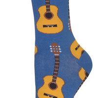Women's Acoustic Guitars Comfortable Crew Socks - Lycra/Cotton/Nylon