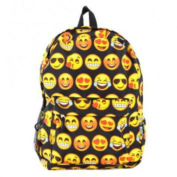 Printed Emoji Backpack-Black