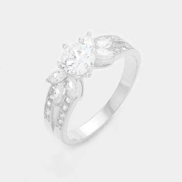 White Gold Plated Cz Ring
