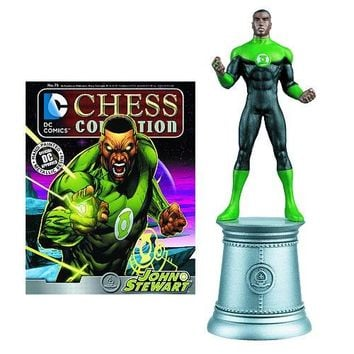 DC Superhero Green Lantern John Stewart White Bishop Chess Piece with Collector Magazine #75