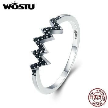 WOSTU Brand Designer 925 Sterling Silver Heart Wave, Black CZ Finger Rings for Women Fashion Silver Jewelry Best Gift CQR207