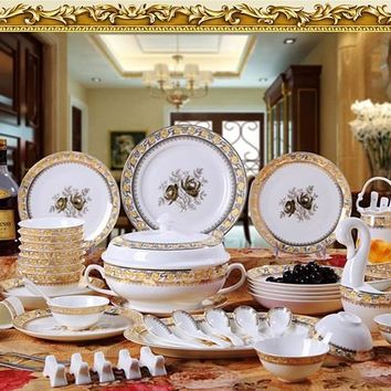 guci Jingde zhen tableware 56 pieces bone china tableware dishes gift porcelain tableware set