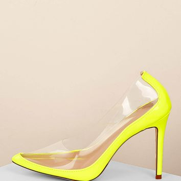 Neon Pointy Toe Clear Detail Stiletto Pumps