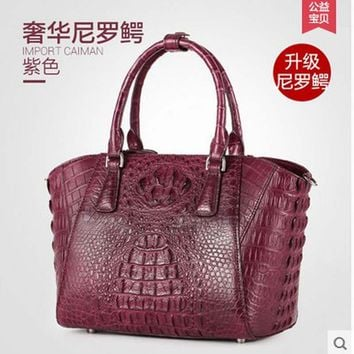 gete import Thailand really crocodile women handbag luxury leather Europe and the United States women bag