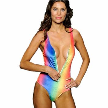 Rainbow Colored Swimsuit - Women's V-Neck One Piece Swimwear with Front Zipper