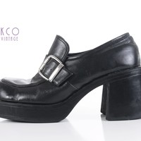 90's Platform Shoes Black Vegan Leather Penny Loafers Chunky Block Heel Vintage Women's Size US 9.5 - UK 7.5 - EUR 40