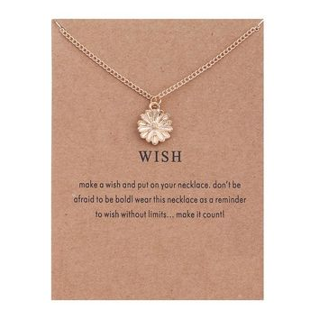 Golden Daisy Flower Card Alloy Clavicle Pendant Necklace  171208