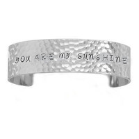 You are my sunshine Hammered Hand Stamped Cuff by JSCJewelry