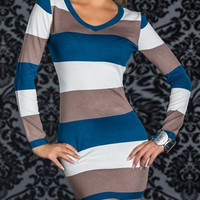 Blue Color Block Long Sleeve Dress