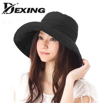 [Dexing] sun hat  anti-UV cotton summer hat for women  vacation wide Brim beach hat foldable  bucket hat large brim cap 5 color