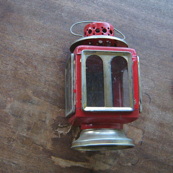 Firehouse Red Tin Hanging Light/Candle Holder with Glass Doors~Antique Rustic Red Punched Tin Lantern~Shabby Industrial Red