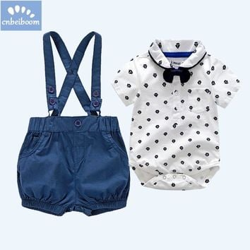 Kids Baby Boys Clothes 2018 Summer Gentleman Bow tie Short Sleeve Shirt+Suspenders Shorts Set 0-2 year birthday clothing suits