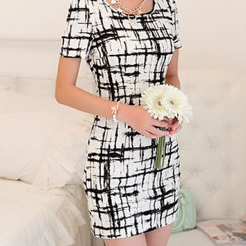 White Printed Short Sleeve Zippered Dress